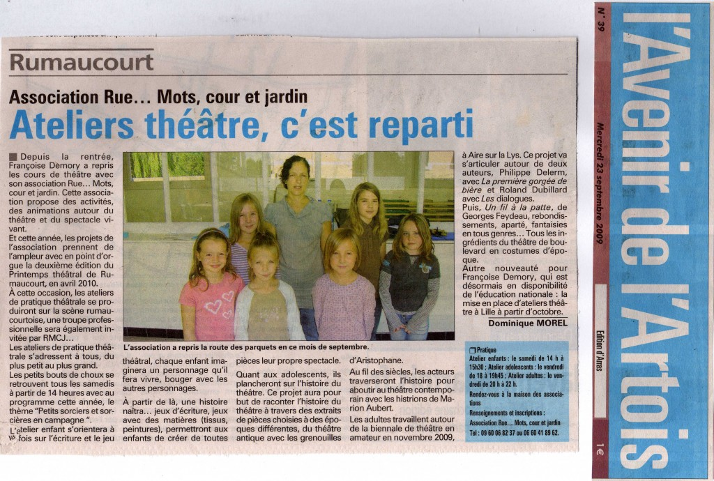 RMCJ article AVENIR de l_ARTOIS presse septembre 2009