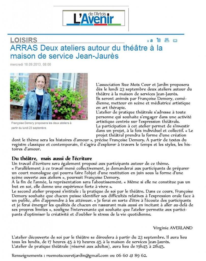 article avenir de l'artois septembre 2013 ateliers arras 2