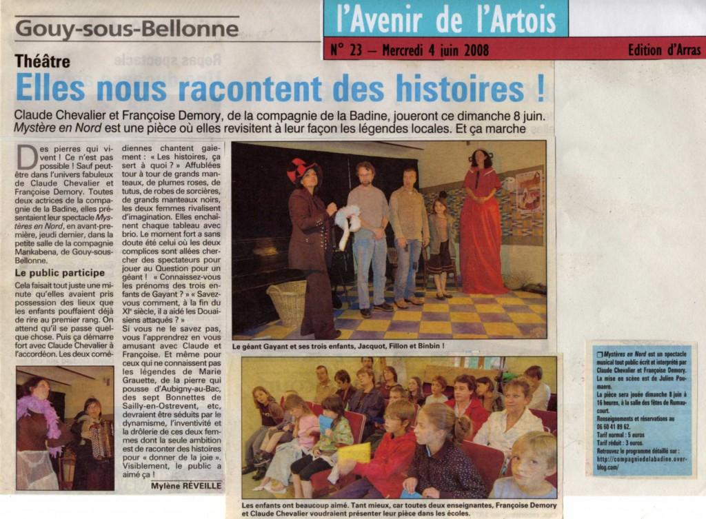 article presse Mysteres en Nord juin 2008