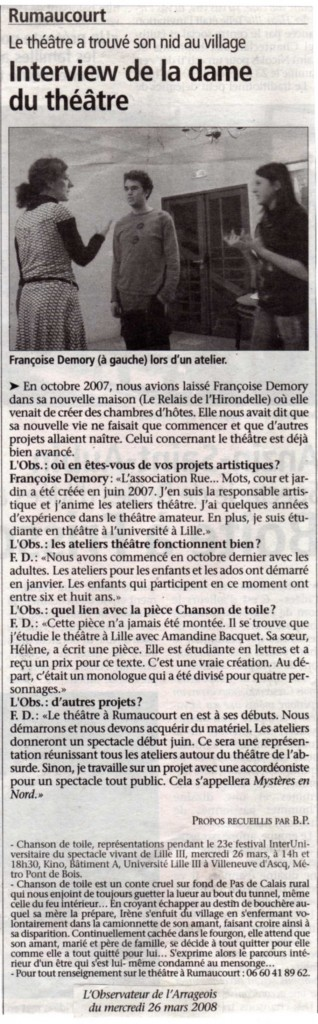 article presse RMCJ mars 2008