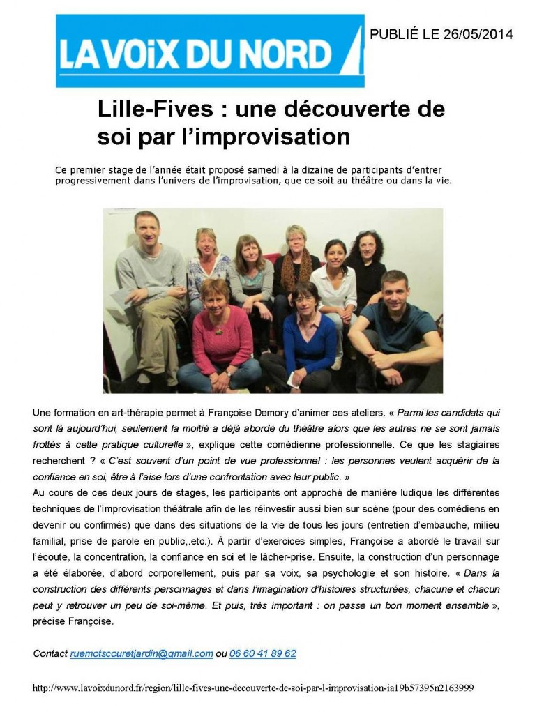 article voix du Nord stage mai 2014